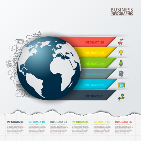 circle design: Vector modern infographics global template for 6 options. Template for diagram, graph, presentation and round chart. Torn paper.