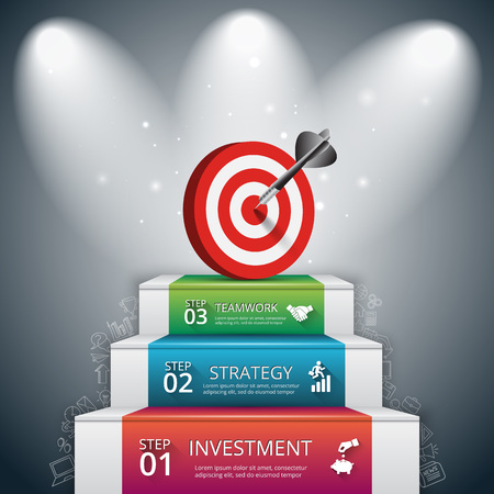 Vector illustration of 3 steps to success with target and dart. Can be used for infographic, banner, diagram, step up options. Doodles icons set. 向量圖像