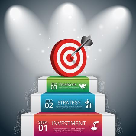 Vektor-Illustration von drei Schritte zum Erfolg mit Ziel und Dart. Kann für die Infografik, Banner, Diagramm verwendet werden, Optionen zu intensivieren. Doodles Symbole gesetzt.