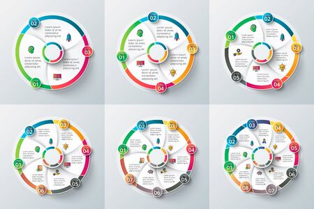 4 5: circle element for infographic. Template for cycle diagram, graph, presentation and round chart. Business concept with 3, 4, 5, 6, 7 and 8 options, parts, steps or processes. Illustration