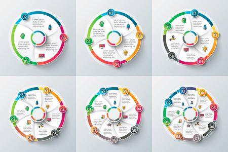 elemento cerchio per infografica. Modello per diagramma di ciclo, grafico, presentazione e grafico rotondo. Concetto di affari con 3, 4, 5, 6, 7 e 8 punti, parti, passi o processi.