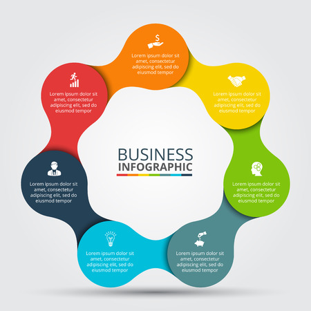 circle infographic. Template for cycle diagram, graph, presentation and round chart. Business concept with 7 options, parts, steps or processes. Data visualization.
