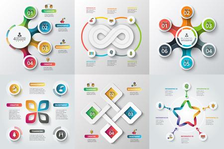 diagrama: Conjunto de estrellas, círculos y otros elementos para la infografía. Plantilla para el diagrama del ciclo, gráfico. Concepto de negocio con 4, 5 y 6 opciones, partes, pasos. desenfoque de fondo.