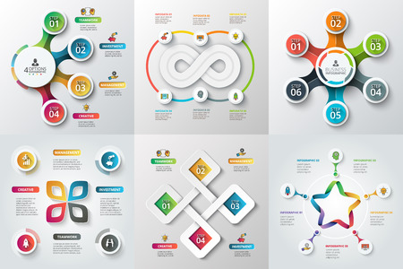 Set Sterne, Kreise und andere Elemente für Infografik. Vorlage für Zyklusdiagramm, Diagramm. Business-Konzept mit 4, 5 und 6 Optionen, Teile, Schritte. Blur Hintergrund.