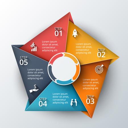 flecha: Vector plantilla de diseño infográfico. Concepto de negocio con 5 opciones, partes, etapas o procesos. Puede ser utilizado para el diseño de flujo de trabajo, diagrama, opciones de número, diseño de páginas web. Visualización de datos.