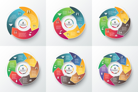 5 6: Vector arrows for infographic. Template for cycle diagram, graph, presentation and round chart. Business concept with 3, 4, 5, 6, 7 and 8 options, parts, steps or processes. Data visualization. Illustration