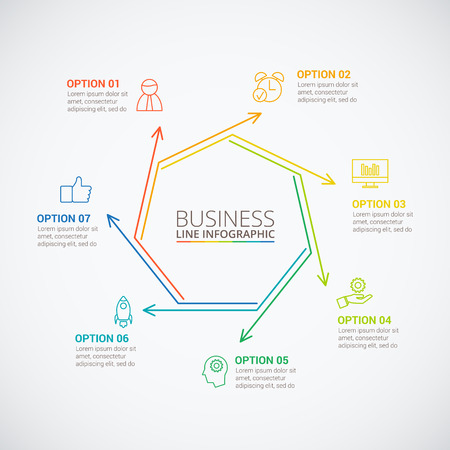 Thin line flat heptagon for infographic. Template for cycle diagram, graph, presentation and round chart. Business concept with 7 options, parts, steps or processes. Data visualization. Illustration