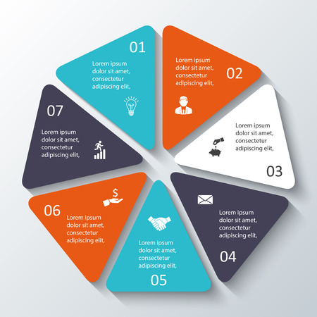 heptagon: heptagon for infographic. Template for cycle diagram, graph, presentation and round chart. Business concept with options, parts, steps or processes. Abstract background.