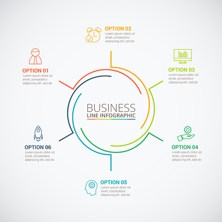 Thin line flat circle for infographic. Template for cycle diagram, graph, presentation and round chart. Business concept with 6 options, parts, steps or processes. Data visualization.