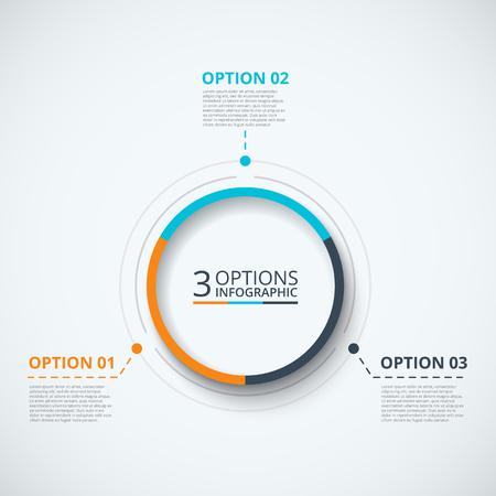 proceso: Plantilla de diseño de infografía. Concepto de negocio con 3 opciones, partes, etapas o procesos. Puede ser utilizado para el diseño de flujo de trabajo, diagrama, opciones de número, diseño de páginas web. Visualización de datos. Vectores