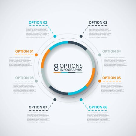 arrow circle: infographic design template. Business concept with 8 options, parts, steps or processes. Can be used for workflow layout, diagram, number options, web design. Data visualization.
