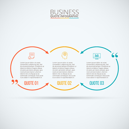 quote: quote infographic. Template for diagram, graph, presentation and chart. Business concept with 3 options, parts, steps or processes. Data visualization.