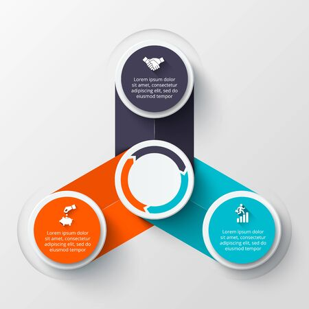 circle arrows: infographic design template. Business concept with options, parts, steps or processes. Can be used for workflow layout, diagram, number options, web design. Data visualization. Illustration