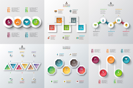 Abstract infographics number options template. illustration. Can be used for workflow layout, diagram, business step options, banner, web design Vectores