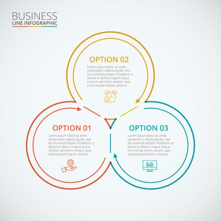 círculos planos de líneas finas de infografía. Plantilla para el diagrama del ciclo, gráfico, la presentación y el gráfico ronda. Concepto de negocio con 3 opciones, partes, etapas o procesos. Visualización de datos.