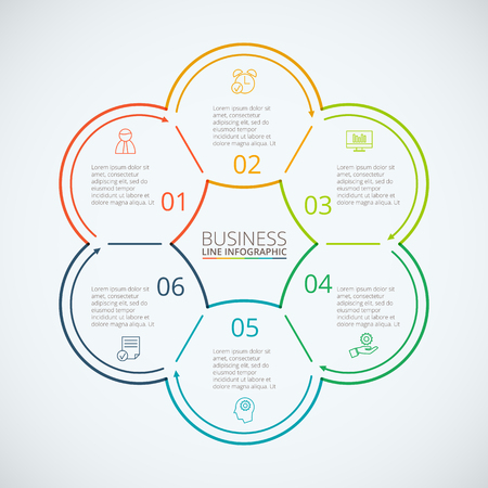 data line: Thin line flat circles for infographic. Template for cycle diagram, graph, presentation and round chart. Business concept with 6 options, parts, steps or processes. Data visualization.