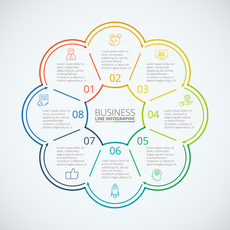 data line: Thin line flat circles for infographic. Template for cycle diagram, graph, presentation and round chart. Business concept with 8 options, parts, steps or processes. Data visualization. Illustration