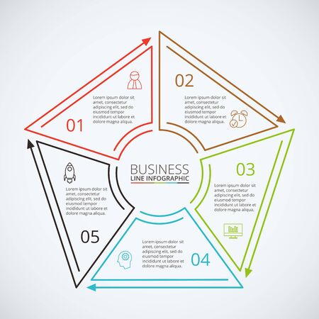 Thin line flat pentagon for infographic. Template for diagram, graph, presentation and chart. Business concept with 5 options, parts, steps or processes. Data visualization.