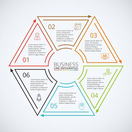 data line: Thin line flat hexagon for infographic. Template for diagram, graph, presentation and chart. Business concept with 6 options, parts, steps or processes. Data visualization.