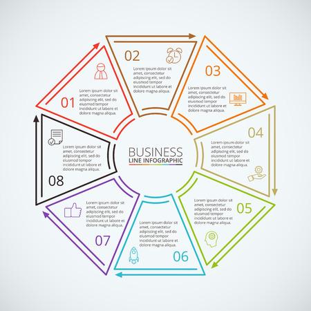 Thin ottagono piatta linea per infografica. Modello per diagramma, grafico, presentazione e grafico. Concetto di affari con 8 opzioni, parti, passi o processi. visualizzazione dei dati.