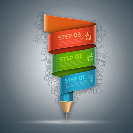 step up: Vector template with pencil ribbon banner flow chart. Can be used for education infographic, banner, diagram, step up options. Doodles icons set. Illustration