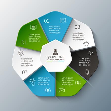 Vector conception infographique modèle. Business concept avec 7 options, parties, étapes ou processus. Peut être utilisé pour la mise en page flux de travail, diagramme, les options numériques, conception de sites Web. La visualisation des données. Vecteurs