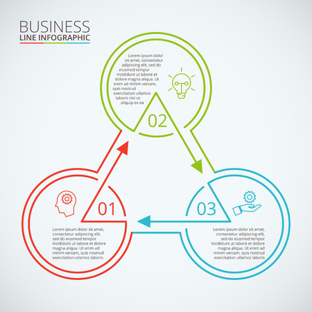 Dunne lijn vlakke element voor infographic. Template voor het diagram, grafiek, presentatie en grafiek. Zakelijk concept met 3 opties, delen, stappen of processen. Data visualisatie.