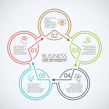 Thin line flat element for infographic. Template for diagram, graph, presentation and chart. Business concept with 5 options, parts, steps or processes. Data visualization.