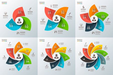 three: Vector swirl infographic. Template for cycle diagram, graph, presentation and round chart. Business concept with 3, 4, 5, 6, 7 and 8 options, parts, steps or processes. Data visualization.