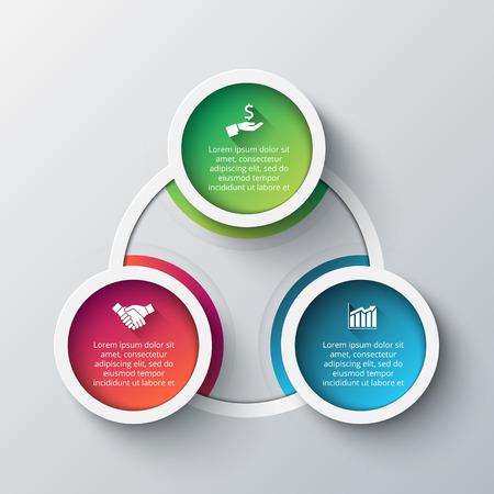 graficos: Vector plantilla de diseño infográfico. Concepto de negocio con 3 opciones, partes, etapas o procesos. Puede ser utilizado para el diseño de flujo de trabajo, diagrama, opciones de número, diseño de páginas web. Visualización de datos. Vectores