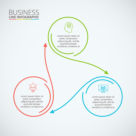 Thin line flat circle infographic. Template for diagram, graph, presentation and chart. Business concept with 3 options, parts, steps or processes. Data visualization.