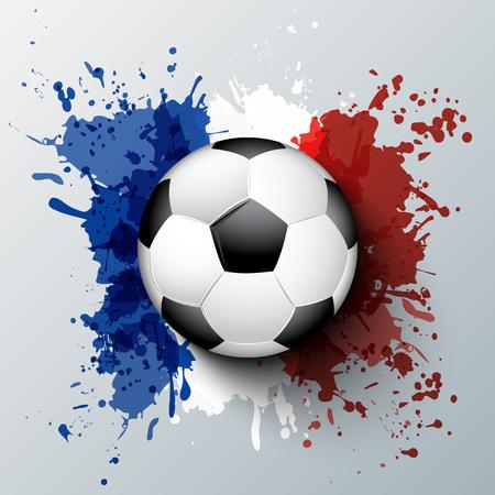 campo: Euro 2016 Campeonato de Francia de fútbol con la bola y la bandera de francia colores. Vectores