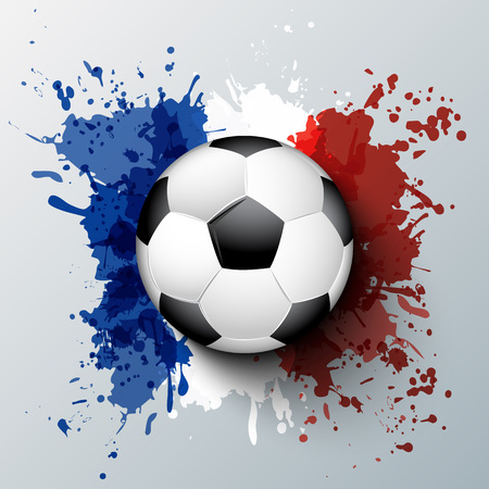 euro sign: Euro 2016 France football championship with ball and france flag colors.