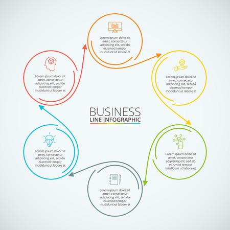 Dunne lijn platte cirkel infographic. Template voor het diagram, grafiek, presentatie en grafiek. Zakelijk concept met 6 opties, delen, stappen of processen. Data visualisatie. Stockfoto