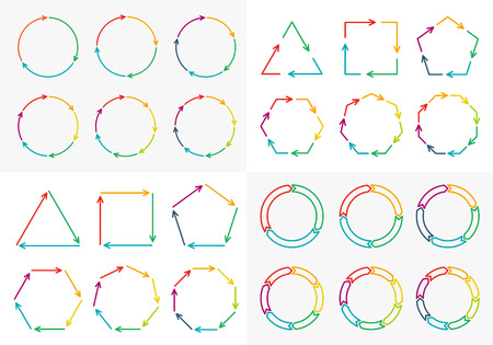 3 4: Vector circle arrows set for infographic. Template for diagram, graph, presentation and chart. Business concept with 3, 4, 5, 6, 7, 8 options, parts, steps or processes Illustration