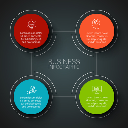 square shape: Vector infographic design template. Business concept with 4 options, parts, steps or processes. Can be used for workflow layout, diagram, number options, web design. Data visualization.
