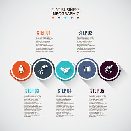 círculos planos con largas sombras de infografía. Plantilla para el diagrama, gráfica, la presentación y el gráfico. Concepto de negocio con 5 opciones, partes, etapas o procesos. Visualización de datos.