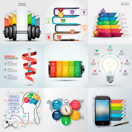 medical education: Travel, medical, education, business, fitness and baby infographic templates.