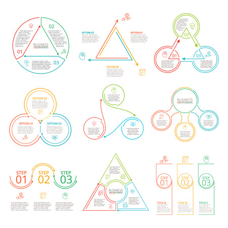 Thin line flat elements set for infographic. Template for diagram, graph, presentation and chart. Business concept with 3 options, parts, steps or processes. Data visualization.