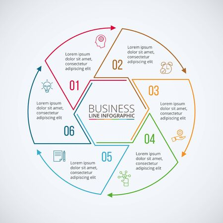 data line: Thin line flat circle for infographic. Template for diagram, graph, presentation and chart. Business concept with 6 options, parts, steps or processes. Data visualization.