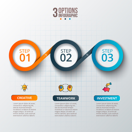 Abstract infographics number options template. Çizim