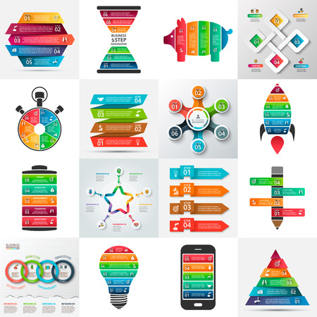 Business infographic template set. Vector illustration. Can be used for workflow layout, banner, diagram, number options, web design, timeline elements Zdjęcie Seryjne - 56488366