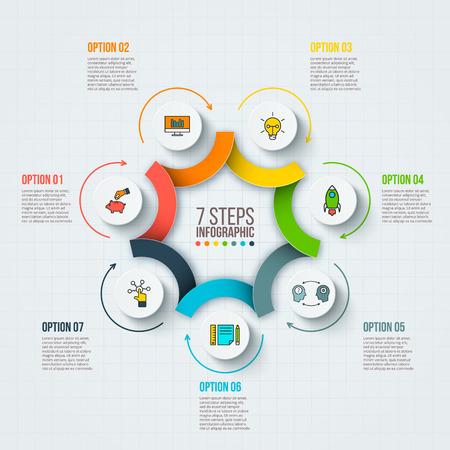 ベクター インフォ グラフィック デザイン テンプレートです。7 のオプション、部品、ステップやプロセスのビジネス コンセプトです。ワークフロ