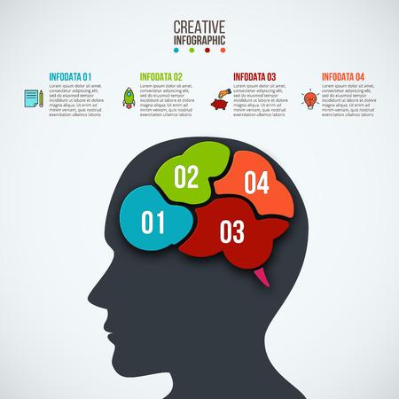 頭、脳、ビジネス アイコンを持つインフォ グラフィック テンプレート。ベクトルの図。ワークフローのレイアウト図、ビジネス ステップ オプショ