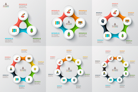 options: Vector circle infographic. Template for cycle diagram, graph, presentation and round chart. Business concept with 3, 4, 5, 6, 7 and 8 options, parts, steps or processes. Data visualization.