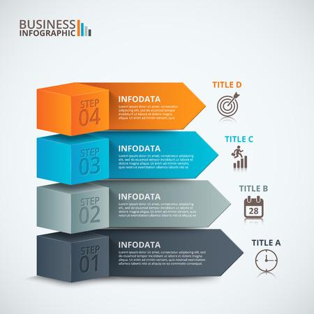 Modernes options d'action de l'entreprise. Vector illustration. Peut être utilisé pour la mise en page flux de travail, diagramme, l'étape des options, bannière, conception de sites Web