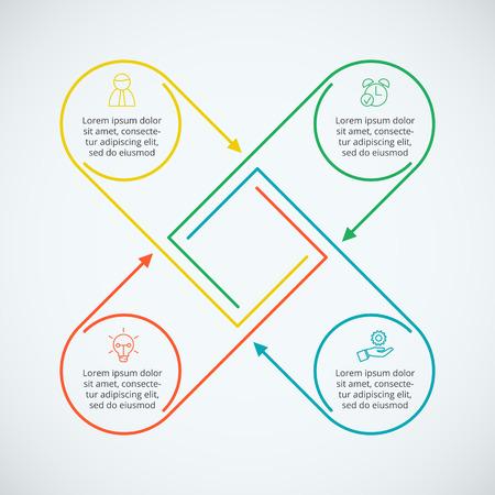 elementos planos de líneas finas de infografía. Plantilla para el diagrama, gráfica, la presentación y el gráfico. Concepto de negocio con 4 opciones, partes, etapas o procesos. Visualización de datos.