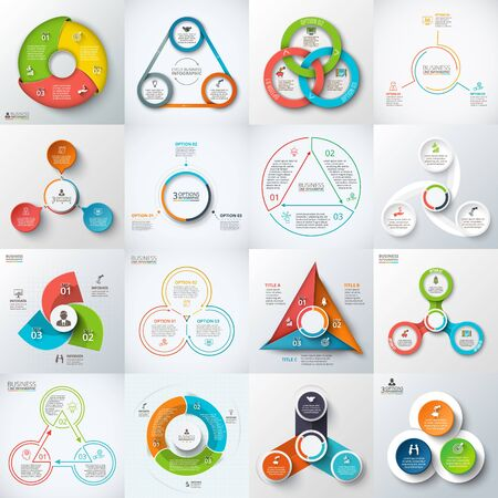 options: Big set of  triangles, circles and other elements for infographic. Template for cycle diagram, graph. Business concept with 3 options, parts, steps. Illustration
