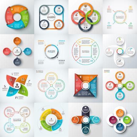 elements: Gran conjunto de cuadrados, círculos y otros elementos para la infografía. Plantilla para el diagrama del ciclo, gráfico. Concepto de negocio con 4 opciones, partes, pasos. Vectores