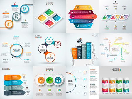 Modèle de conception infographique. Concept d'affaires avec 3, 4, 5, 6, 7 et 8 options, pièces, étapes ou processus. Peut être utilisé pour la disposition du flux de travail, le diagramme, les options de numéros. Visualisation de données.